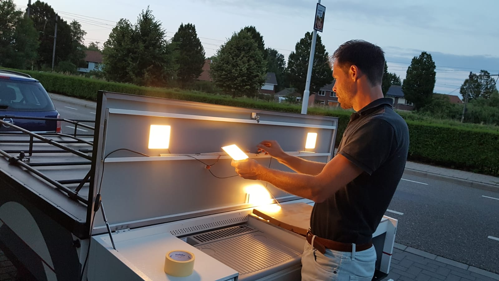 Image to demonstrate the installation of Hikari SQ LED panels in Combi-Camp tent trailer
