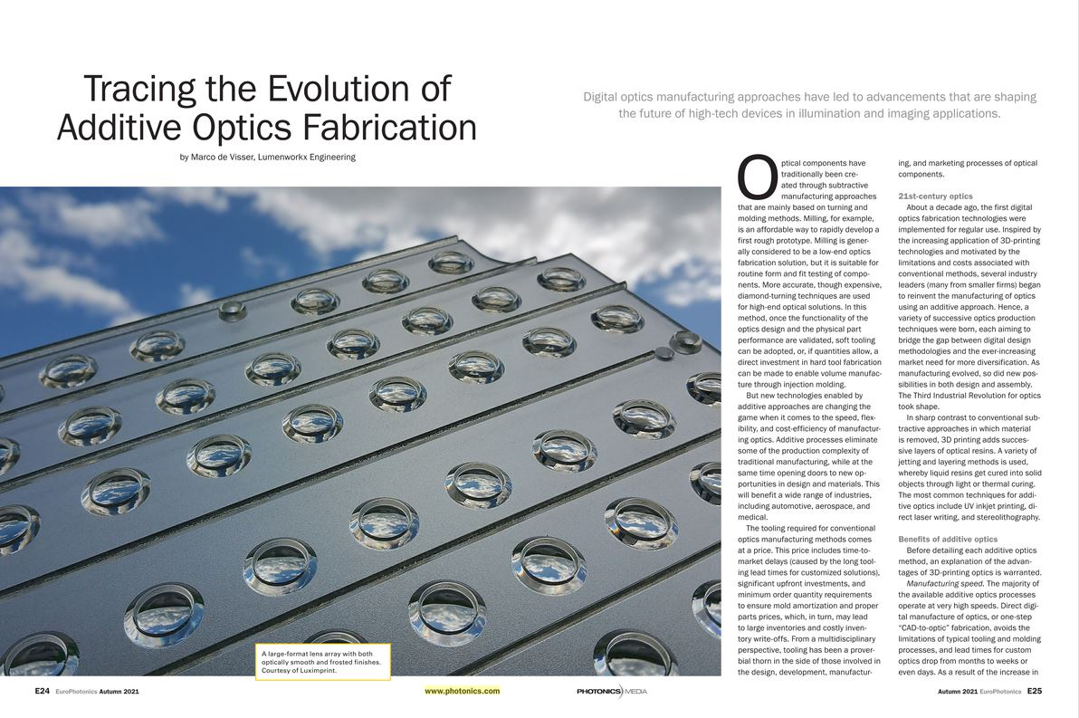 Image with spread article about additive optics fabrication by Marco de Visser Lumenworkx